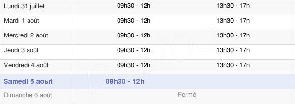 horaires d'ouverture de la Mairie De Chantilly