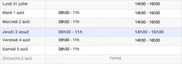 horaires d'ouverture de la Mairie D'Estrées-Saint-Denis