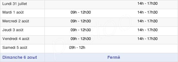 horaires d'ouverture de la Mairie D'Ailly-Sur-Noye
