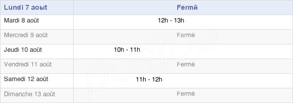 horaires d'ouverture de la Mairie De Moval