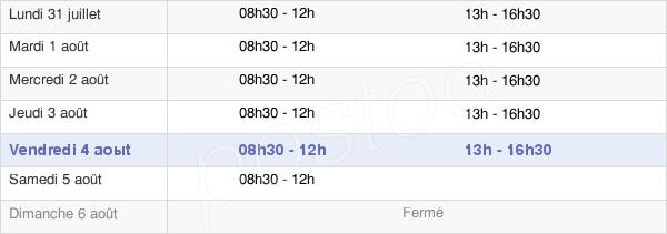 horaires d'ouverture de la Mairie De Ducey
