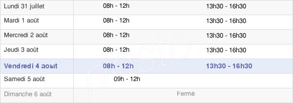 horaires d'ouverture de la Mairie De Nyons