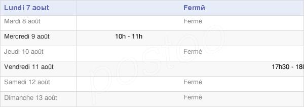 horaires d'ouverture de la Mairie De Outrebois