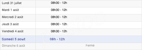 horaires d'ouverture de la Mairie D'Hulluch