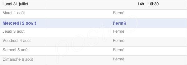 horaires d'ouverture de la Mairie De Villebois Les Pins