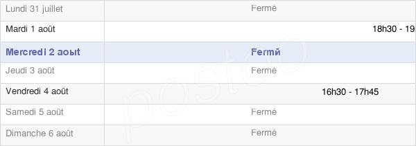 horaires d'ouverture de la Mairie De Colline-Beaumont