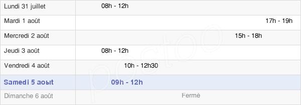 horaires d'ouverture de la Mairie De Coulonces