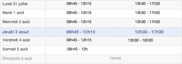 horaires d'ouverture de la Mairie D'Ifs