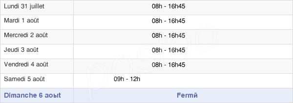 horaires d'ouverture de la Mairie De Colombelles