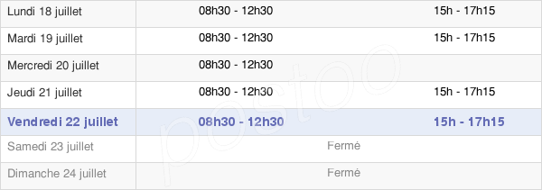 horaires d'ouverture de la Mairie De Soliers