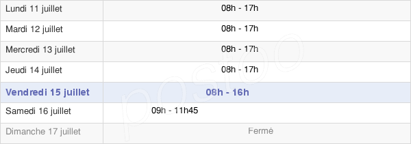horaires d'ouverture de la Mairie De Caen