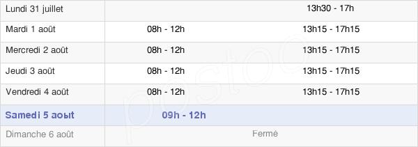 horaires d'ouverture de la Mairie De Mérigny