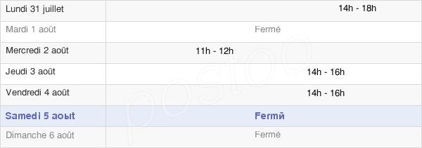 horaires d'ouverture de la Mairie De Bourdon