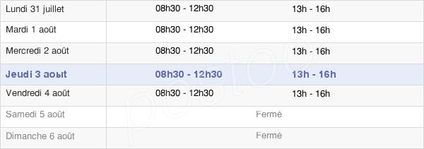 horaires d'ouverture de la Mairie De Barlieu
