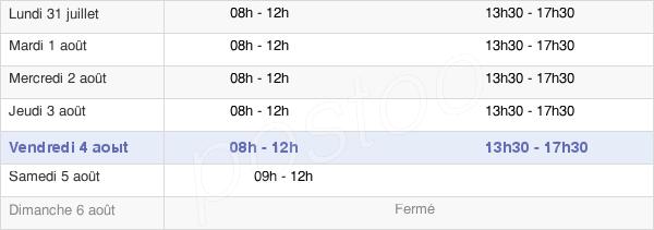 horaires d'ouverture de la Mairie De Fussy