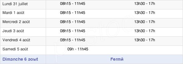 horaires d'ouverture de la Mairie De Saint-Doulchard