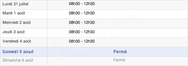 horaires d'ouverture de la Mairie De Chaumussay