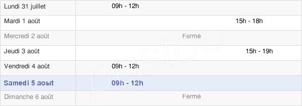 horaires d'ouverture de la Mairie D'Étroussat