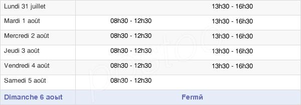 horaires d'ouverture de la Mairie De Javron-Les-Chapelles
