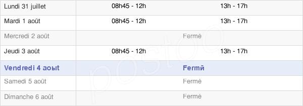 horaires d'ouverture de la Mairie De Saint-Denis-Du-Maine