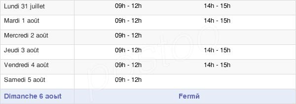 horaires d'ouverture de la Mairie D'Oisseau