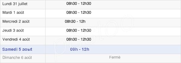 horaires d'ouverture de la Mairie De Bazougers