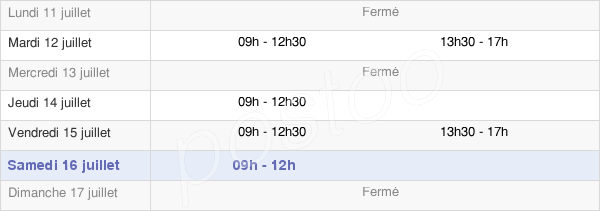 horaires d'ouverture de la Mairie De Sainte-Suzanne