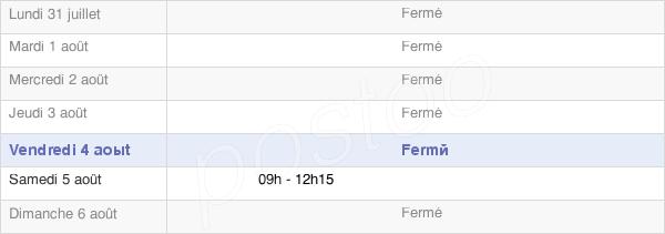 horaires d'ouverture de la Mairie De Chailland