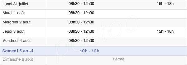 horaires d'ouverture de la Mairie De Bais