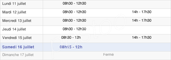 horaires d'ouverture de la Mairie De La Baconnière