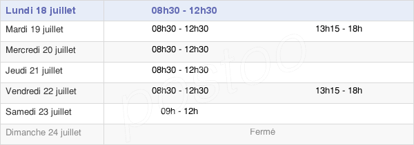 horaires d'ouverture de la Mairie De Ruillé-Le-Gravelais