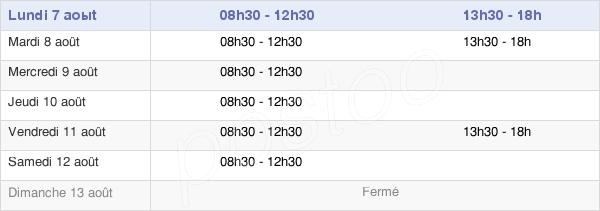 horaires d'ouverture de la Mairie De Montigné-Le-Brillant