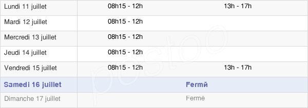 horaires d'ouverture de la Mairie De Lignières-Orgères