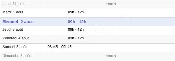 horaires d'ouverture de la Mairie De Saint-Berthevin-La-Tannière