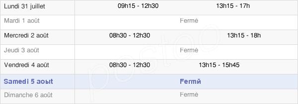 horaires d'ouverture de la Mairie De Placé