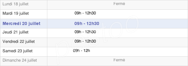 horaires d'ouverture de la Mairie De Contest