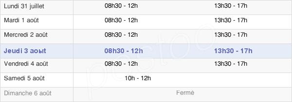 horaires d'ouverture de la Mairie De Souvigny