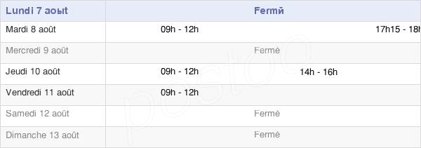 horaires d'ouverture de la Mairie D'Espinasse-Vozelle