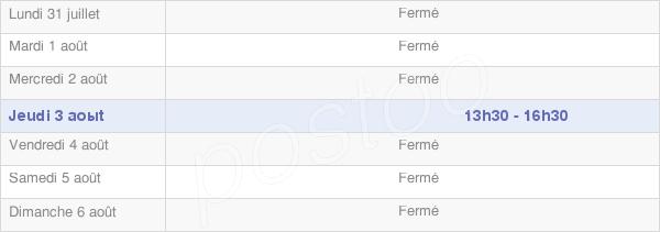 horaires d'ouverture de la Mairie De Bernouil