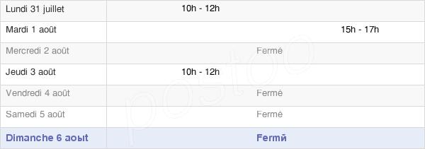 horaires d'ouverture de la Mairie De Chichery
