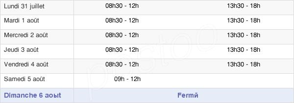 horaires d'ouverture de la Mairie D'Yzeure