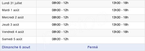 horaires d'ouverture de la Mairie De Migennes