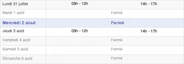 horaires d'ouverture de la Mairie De Lain