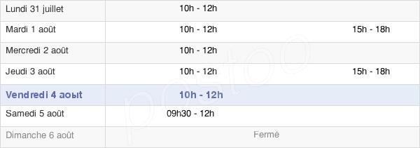horaires d'ouverture de la Mairie De Vendat