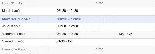 horaires d'ouverture de la Mairie De Ravières