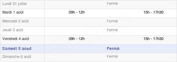 horaires d'ouverture de la Mairie De Villiers-Vineux