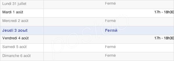 horaires d'ouverture de la Mairie De Percey