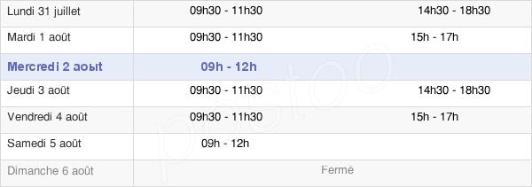 horaires d'ouverture de la Mairie De Condé-Sur-Vesgre