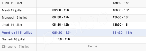 horaires d'ouverture de la Mairie De Châtel-De-Neuvre