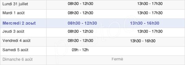 horaires d'ouverture de la Mairie De Montesson